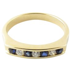 Vintage 14 Karat Yellow Gold Genuine Sapphire and Diamond Ring Size 5.5