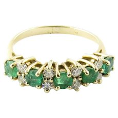 Vintage 14 Karat Yellow Gold Genuine Emerald and Diamond Ring Size 4.5