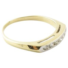 Vintage 14 Karat Yellow Gold Diamond Wedding Band Size 8