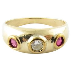 Vintage 14 Karat Yellow Gold Ruby and Diamond Ring Size 3