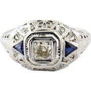 14K White Gold Art Deco Diamond and Sapphire Filigree Dome Ring, Size 7.5