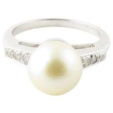 Vintage 14 Karat White Gold Pearl and Diamond Ring Size 5.25