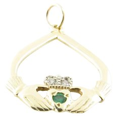Vintage 9 Karat Yellow Gold Emerald and Diamond Claddagh Pendant