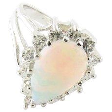 Vintage 14 Karat White Gold Opal and Diamond Ring Size 5.25