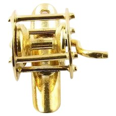 Vintage 14 Karat Yellow Gold Mechanical Fishing Reel Charm