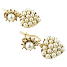 Vintage 14 Karat Yellow Gold and Pearl Earrings