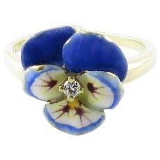 Vintage 14 Karat Yellow Gold and Diamond Pansy Ring Size 6