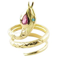 Vintage 18 Karat Yellow Gold Ruby and Turquoise Snake Ring Size 7.25