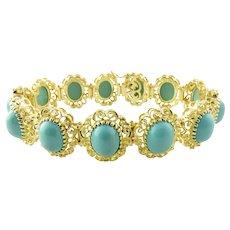 Vintage 18 Karat Yellow Gold and Turquoise Bracelet Size 6.75