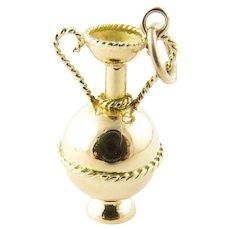 Vintage 14 Karat Yellow Gold Decorative Urn Charm
