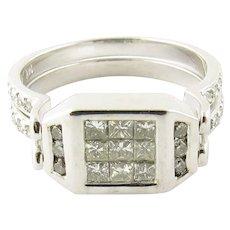 Vintage 14 Karat White Gold Blue and White Diamond Flip Ring Size 7