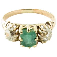 Vintage 14 Karat Yellow Gold Emerald and Diamond Ring Size 3.75