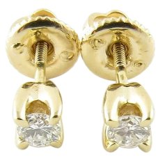 Vintage 14 Karat Yellow Gold Diamond Stud Earrings .24 ct. twt.