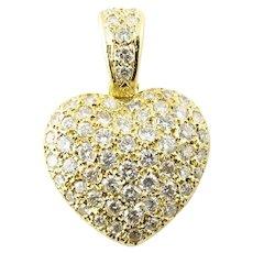 Vintage 18 Karat Yellow Gold Diamond Heart Pendant
