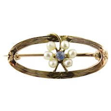 Vintage 10 Karat Yellow Gold Seed Pearl and Blue Topaz Brooch/Pin