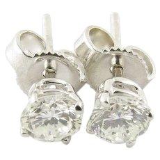 Vintage 14 Karat White Gold Diamond Stud Earrings .60 ct. twt.