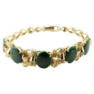 """Vintage 14K Yellow Gold and Sliced Green Emerald Bracelet 6.25"""" Bracelet Size"""