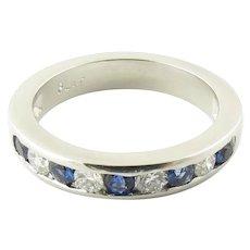 Vintage Platinum Sapphire and Diamond Wedding Band Size 5.75