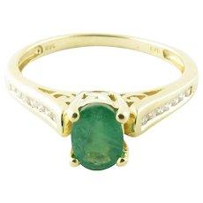 Vintage 14 Karat Yellow Gold Emerald and Diamond Ring Size 9.25
