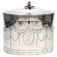 Antique English Sterling Silver Locking Tea Caddy by Robert Hennell