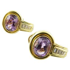 Vintage 18 Karat Yellow Gold Amethyst and Diamond Earrings