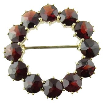 Vintage 14 Karat Yellow Gold Garnet Pin/Brooch