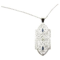 Vintage 10 Karat White Gold Filigree, Diamond and Sapphire Pendant 14K Necklace