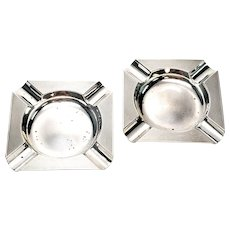 Pair of Vintage Asprey & Co Ltd of London Sterling Silver Ashtrays