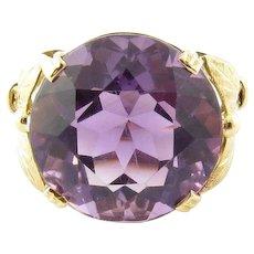 Vintage 14 Karat Yellow Gold Amethyst Ring Size 7.5