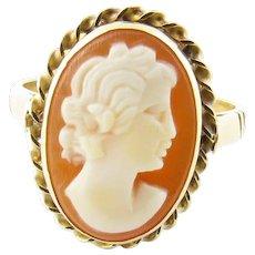 Vintage 14 Karat Yellow Gold Cameo Ring Size 5