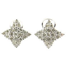 Vintage 18 Karat White Gold Diamond Earrings