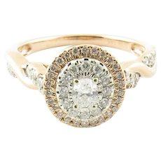 Vintage 14 Karat Rose, White and Yellow Gold Diamond Ring Size 6.5