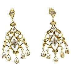 Vintage 14 Karat Yellow Gold and Diamond Chandelier Earrings