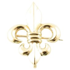 Vintage 14 Karat Yellow Gold Fleur De Lis Brooch/Pin