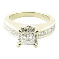 Vintage 14 Karat White Gold Princess Cut Diamond Engagement Ring Size 5.75  1.16 ct.