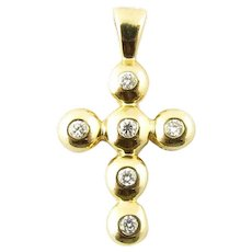 Vintage 14 Karat Yellow Gold and Diamond Cross