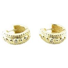 Vintage 14 Karat Yellow Gold and Diamond Huggie Earrings