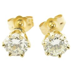 Vintage 14 Karat Yellow Gold Diamond Stud Earrings .90 ct. twt.