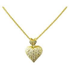 Vintage 18 Karat Yellow Gold Diamond Heart Pendant Necklace