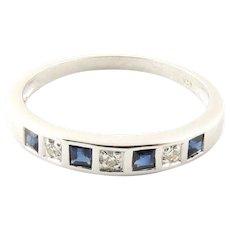 Vintage 14 Karat White Gold Sapphire and Diamond Ring Size 6