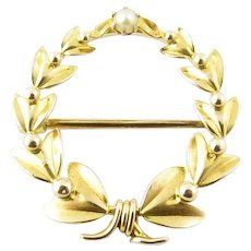 Vintage 10 Karat Yellow Gold Wreath Pin/Brooch