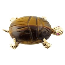 Vintage 14 Karat Yellow Gold Tiger's Eye and Ruby Turtle Brooch/Pin