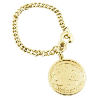 Vintage 14 Karat Yellow Gold St. Christopher Watch Fob