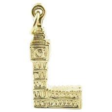 Vintage 9 Karat Yellow Gold Big Ben Tower Charm