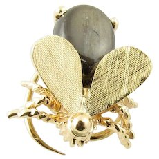 Vintage 14 Karat Yellow Gold and Black Star Sapphire Bee Hair Ornament