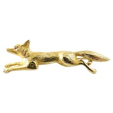 Vintage 14 Karat Yellow Gold Fox Brooch/Pin