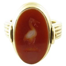 Vintage 14 Karat Yellow Gold Onyx and Carnelian Flip Ring Size 4.5