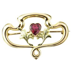 Vintage 10 Karat Yellow Gold and Synthetic Ruby Brooch/Pin