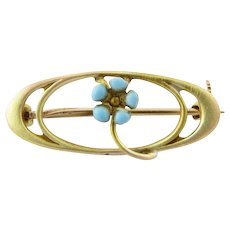 Vintage 10 Karat Yellow Gold and Enamel Brooch/Pin