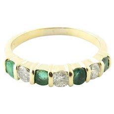 Vintage 14 Karat Yellow Gold Emerald and Diamond Ring Size 6.75